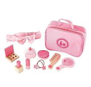 BN Hape Beauty Belongings Kid's Wooden Cosmetics MakeUp Pretend Play Accessories Kit Set