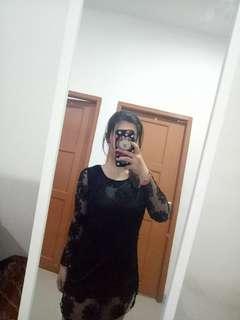 Mini dress black brukat