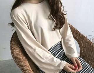 Plain Loose Long Sleeve 3/4 Shirt