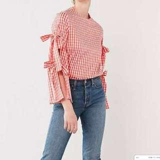 Style Mafia Bell Sleeves Gingham Blouse