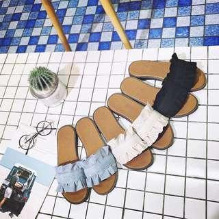 Black Ruffles Flat Sandals
