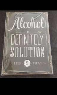 Sale 🌟 BN Alcohol Is Definitely Solution Tin Sign 20x30cm beer