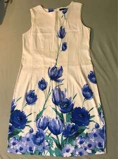 For Me Cream Floral Dress