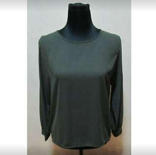 Military Green Longsleeves Top