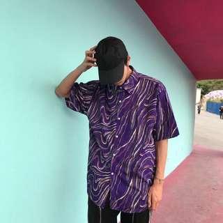 🚚 全新 電光紫跑趴oversize短袖襯衫