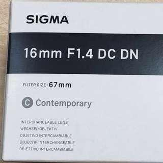 Sigma 16mm f1.4 DC DN Contemporary Lens for Sony E (reserved till Sunday)