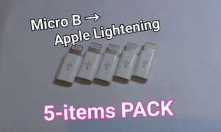 🚚 [LightLAB]Micro B轉 蘋果Lightening 轉接頭 安卓轉蘋果 五個包