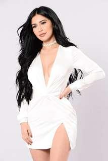 White wrapped dress XS