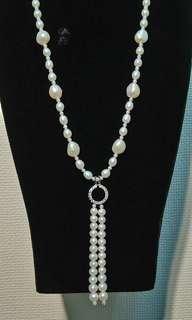 🚚 天然淡水珍珠長鍊 淡水自然型珍珠 純銀鑲鋯石墜頭 簡約  大方  時尚 具個人強烈風格 僅此一件 特優惠價 8800