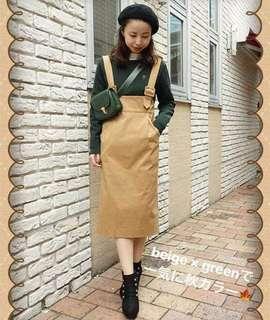 包順豐 日本 fint  卡其色 胸以下全是腿 吊帶連身裙