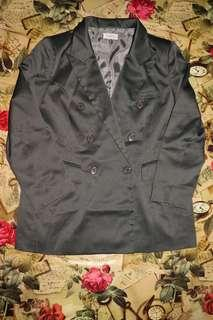 Gray Pinstriped Double Breasted Suit Jacket/Blazer
