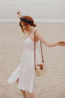 Rolla's Eve Linen Button Midi Dress in White - Size M/10 BNWT RRP $149.95