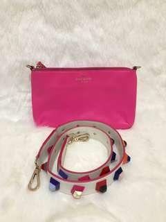 KATESPADE clutch with fun strap authentic muat long wallet
