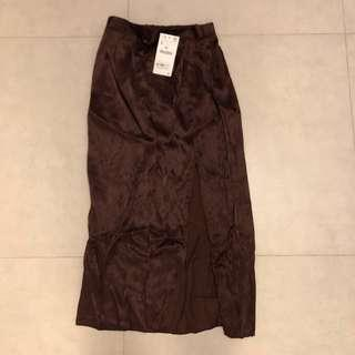 Zara split silk midi skirt brown
