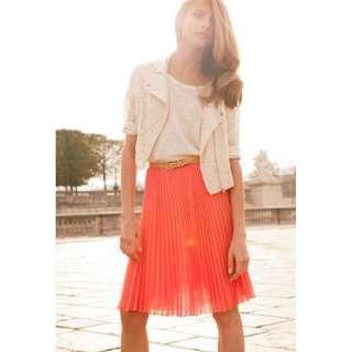 H&M - Orange Pleated Skirt