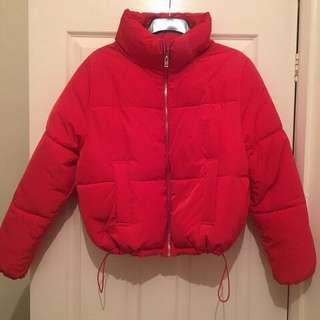 Red H&M puffer jacket size medium