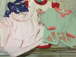 6 pieces baby tops and onesie