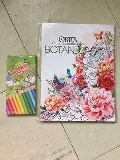 Adult coloring book with color pencils