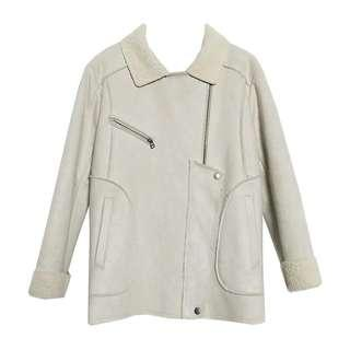 Brand new white Lambswool / Sherpa Leather Jacket