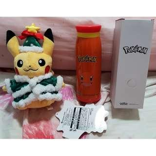 Brand New Pokemon Christmas Pikachu Plush Soft Toy & Charmander Tumbler