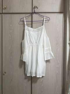BN White Crochet Cold Shoulder Romper