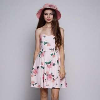 BNWT Mugigae Rosia Tube Dress in Pink (Free Bowler Hat)