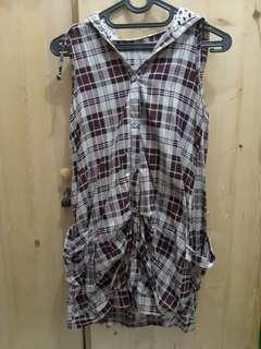 Mini dress jumper kotak-kotak