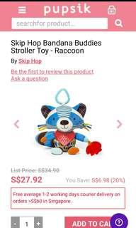 Skiphop racoon teether soft toy