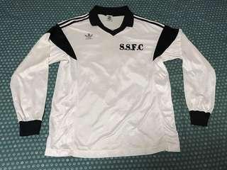 Adidas三葉草波衫🇯🇵 Japan made originals 德國款 黑白長袖球衣連印字 Germany style Soccer football shirt jersey Long sleeve No.6 Descente vintage