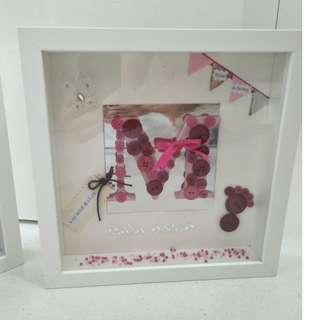Hand made personalised baby name frames. Ideal gift for baby born or christening day.   I can do for birthdays, anniversary and other occasions. Let me know what kind of design or ocasion you like. I can help you with my ideas!