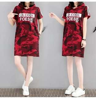 (PLUS SIZE) Camouflage Red TShirt Dress