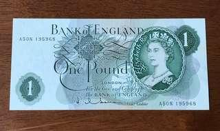 Bank of England £1 (Reverse Letter G)