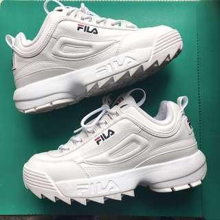 🚚 9.9成新❤️折價700❤️fila鋸齒增高厚底鞋小白鞋老爹鞋