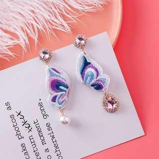 <free pos 3 pairs & above> Korean design purple butterflies earrings