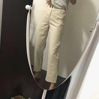 🚚 全新❤️半價❤️鬆緊腰圍長褲寬褲直筒褲 杏色 杏米白色