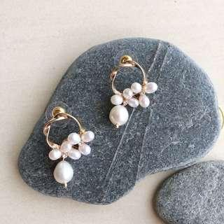 Japan Handmade Enchanting Genuine Pearl Earring