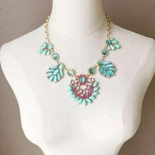 J Crew Blue Opal Glamour Statement Necklace