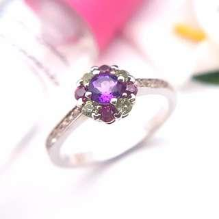 🚚 Amethyst and Tourmaline ring, 925 Silver ring, engagement ring, proposal ring, ring for girl, woman ring, halo ring, ER003