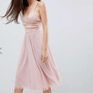 [for rental / sale] asos design scuba cami wrap tulle midi prom dress