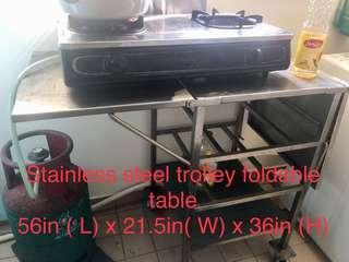 Staineless steel kitchen table trolley stroller / dapur meja