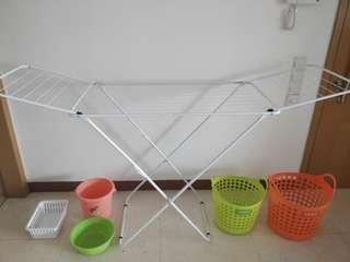 Laundry basket, drying rack, etc.