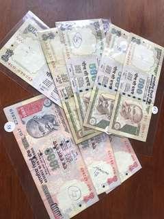 India 500 & 1000 Rupees Used