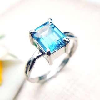 🚚 Blue topaz silver ring, blue stone ring, twisted wire ring, engagement ring, promise ring ER004