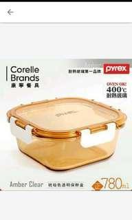 🚚 【美國康寧 Pyrex】正方型780ml 透明玻璃保鮮盒