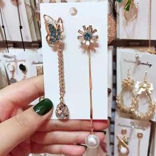 <free pos 3 pairs & above> Korean design butterflies earrings