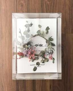🚚 Personalised Dried Flowers Wreath Greeting Card - Happy Birthday
