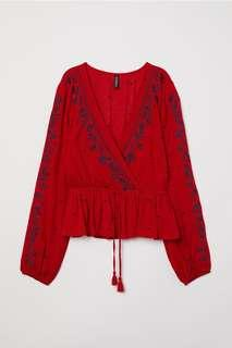 H&M Embroidered Wrap Top