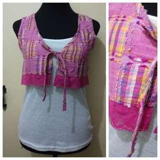 WA1030 Cropped Rugged Pink Tie front Vest - GUC