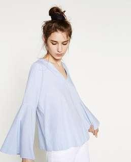 zara blue v neck blouse flare sleeve