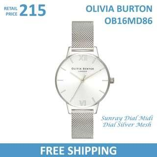 🚚 Olivia Burton Ladies Watch Sunray Dial Midi Dial Silver Mesh OB16MD86